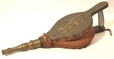 ANTIQUE/VINTAGE Fireplace Bellows Wood Leather W/Dutch Windmill Design