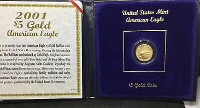 2001 1/10 oz $5 AMERICAN EAGLE GOLD COIN BU