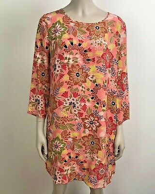 f114cc9c CLUB MONACO SILK Dress Size 10 Pink Floral 3/4 Sleeve - $21.99 ...