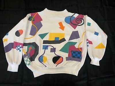 Vintage 1980s Crew Neck Sweat Shirt Funky Design 80s Design Starting Point Small