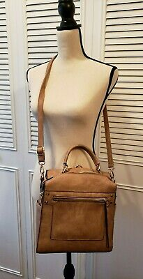unparalleled new & pre-owned designer shop for newest ISABELLE VEGAN TAUPE Shoulder Backpack Handbag Crossbody