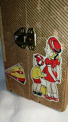 Vintage Mid-Century 1950s Train Doll-Carring Case with Originol Clothes /Hangers