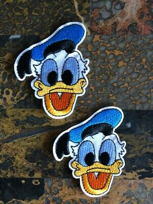 "2 Donald Duck Disney Embroidered Iron On Sew On Patch 3.5/"" L x 2.75/"" W Hat Craft"