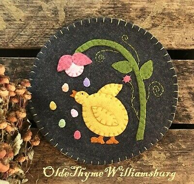 Primitive Stitchery EASTER Chick & Eggs Penny Rug ~ SPRING Candle Mat