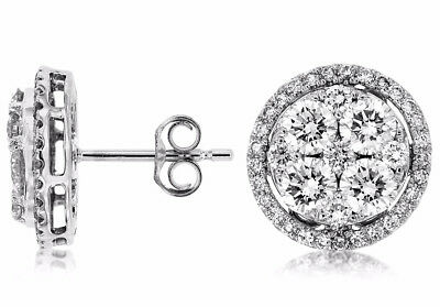 Estate 2.50Ct Round Diamond 14K White Gold 3D Classic Cluster Halo Stud Earrings