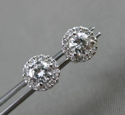 Estate .65Ct Diamond 14Kt White Gold Round Classic Solitaire Halo Stud Earrings
