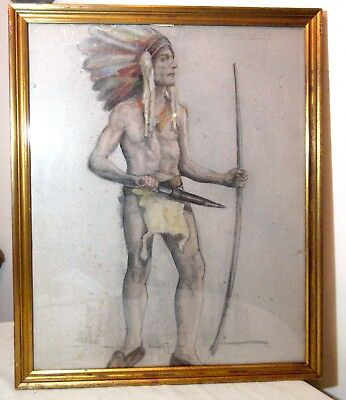 antique original Native American chief Folk Art drawing pastel painting framed