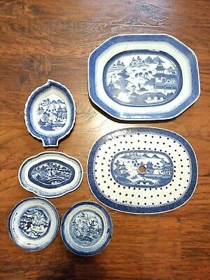 Antique Canton Blue & White Chinese Dish Platter Set Lot (READ)RARE 18th century