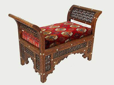 antique Carved Walnut Bench Inlaid With Mother-of-pearl Damascus Syria Moorish