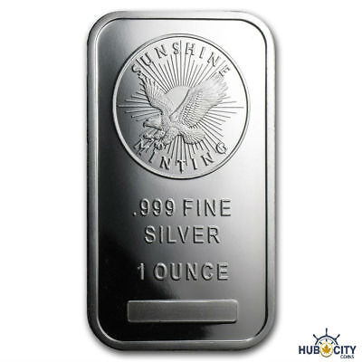 Sunshine Mint 1oz .999 Fine Silver Bar Mint Mark SI