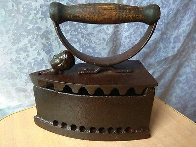 RARE Vintage Metal open smoothing Iron with head Cast Antique OLD