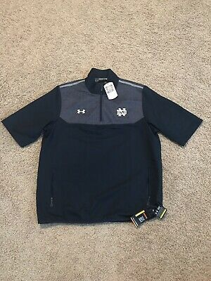 9721a3c0e91583 Notre Dame Irish Football Under Armour 1 4 Zip Pullover Jacket Large Blue ND