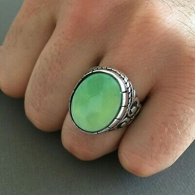 NEW Mens Ring Tourmaline Stone Vintage Ottoman Handmade Jewelry 925k Size 8.50