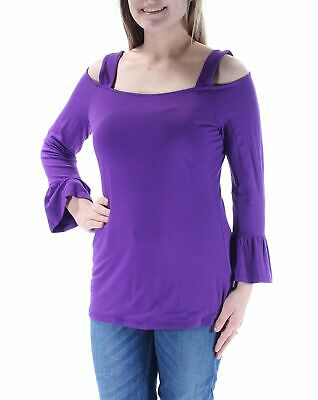 a0602cc3a7c0b7 INC  44 Womens New 1630 Purple Cut Out Square Neck Bell Sleeve Casual Top M  B