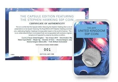 2019 Stephen Hawking 50p coin BUNC Royal Mint Pre order. SOLD OUT !!