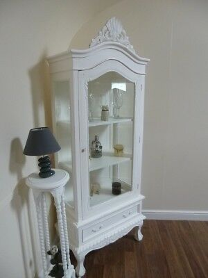 Shabby Chic Display Cabinet In White - French Glass Display Cabinet