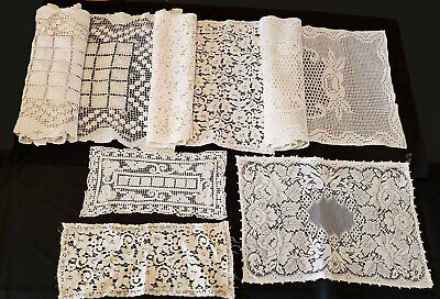 Large Lot -Antique Handmade Lace- Italian Filet Lace, Knotted Net, Machine Lace