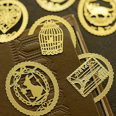 2x Kawaii Gold Metal Bookmarks Cute Book Marker for Books Stationery Christm HY