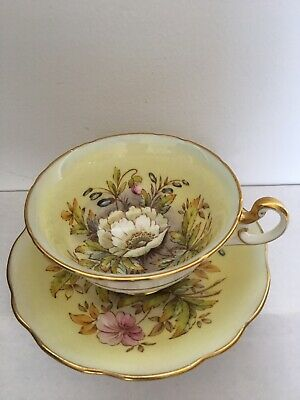 Vintage EB Foley Bone China Footed Tea Cup & Saucer Set ~ Yellow Poppy Pattern