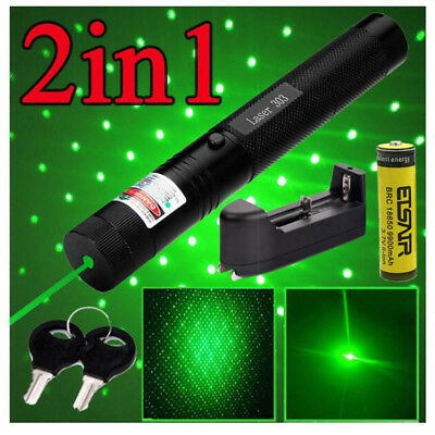 Green 18650 Battery Laser Pointer 10Miles 532nm Lazer Pen Visible Beam Light
