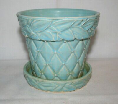 Vintage McCoy Pottery Blue Quilted Diamonds and Leaves Planter with Saucer