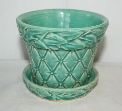 Vintage McCoy Pottery Turquoise Quilted Diamonds and Leaves Planter with Saucer