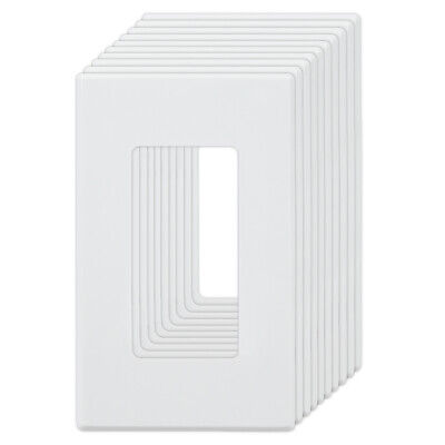 1-Gang Screwless Wall Plate Covers for Switches and Outlets - White
