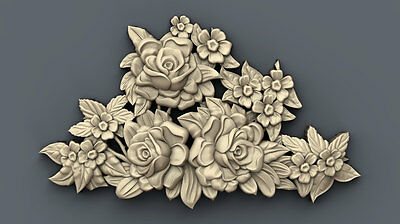 "3d stl Model for CNC Router Machine Artcam Vectric Aspire ""Flowers"""