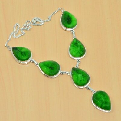 WONDERFUL 925 SILVER PLATED GREEN TITANIUM DRUZY LONG NECKLACE JEWELRY Bn633
