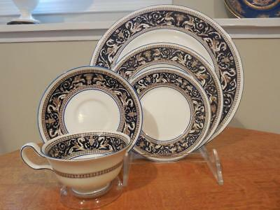 Wedgwood Cobalt Florentine bone china FIVE piece place setting W1956