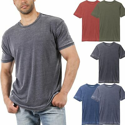 Mens Burnout Short Sleeve T Shirts Soft Faded Vintage Basic Crew neck Tee Casual