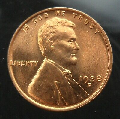 1938-D Lincoln Cent 1c wheat ears United States Mint red uncirculated coin