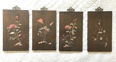 Vintage Chinese Carved Soapstone 4 Seasons Flowers Wood Plaques Wall Art Set