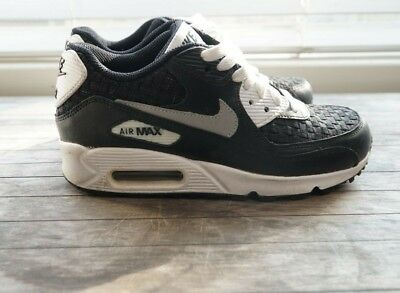 low price ad00c feebb NIKE AIR MAX 90 youth size 4 black and white woven/mesh details boys shoe