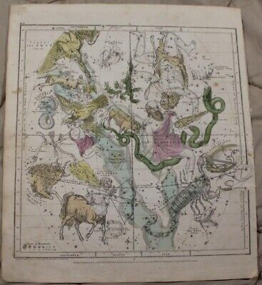 1835 The Visible Celestial Heavens Map for July, August, and September