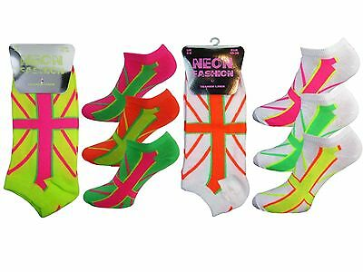 12 Girls Ladies Kids Neon Fashion Trainer Liner Socks / Union Flag / UK 4-6