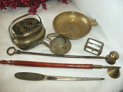 Vintage Lot Brass, Candle Snuffers, Incense Burners, Glass Box, Letter Open,Asht