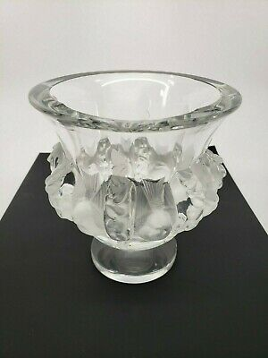 """Clear Lalique Vase 5"""" x 5"""" - Chip on the Top of the Item - FREE SHIPPING USA!"""