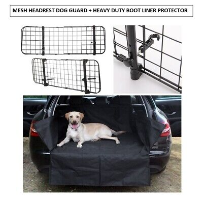 Mesh Headrest Dog Guard + Heavy Duty Boot Liner For Hyundai Santa Fe All Years
