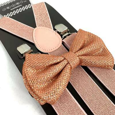 Rose Gold Glitter Suspender and Bow Tie Set Tuxedo Wedding Formal Accessory