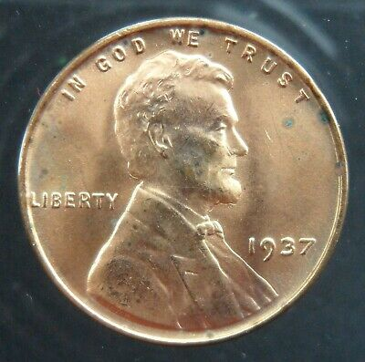 1937 Lincoln Cent 1c wheat ears United States red mint luster coin