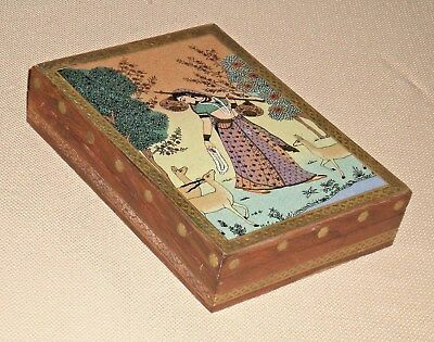 Vintage Wooden Indian TRINKET BOX Ornate Copper Plaque Brass Inlay Decorated 40D