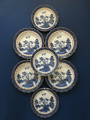 Lot of 7 pcs - Booths Real Old Willow Blue - 4 Rim Soup Bowls & 3 Salad Plates