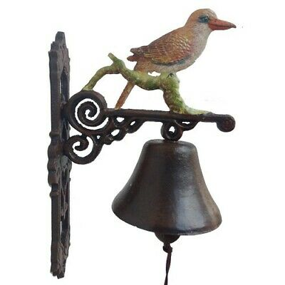 Cast Iron Kookaburra Bird Bell Door Antique Style On Bracket Wall Mounted