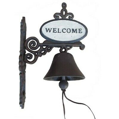 Cast Iron Welcome Bell Door Antique Style On Bracket Wall Mounted