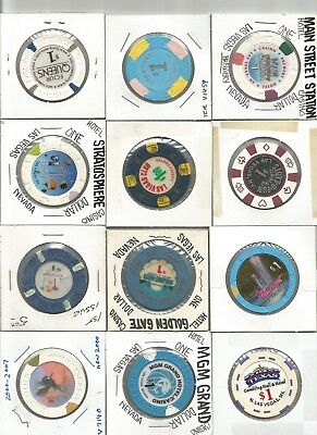 (12) $1 las vegas club,flamingo,aladdin,obsolete casino chips las vegas lot
