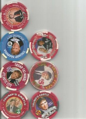 (7) donald trump vintage obsolete castle,plaza,taj mahal  casino chip  lot