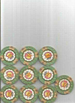 (10) $25 jackpot obsolete casino chips las vegas nv lot