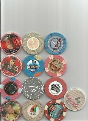 (13)  las vegas hilton barry manilow obsolete las vegas nevada casino chip  lot