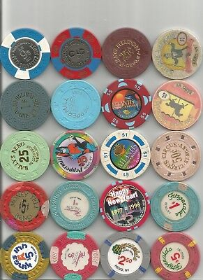 (40) horseshoe,eldorado,circus circus from all over reno nevada casino chip lot